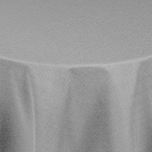 Brillino Tischdecke Rund Hellgrau 160 cm Leinen Optik mit Lotus Effekt Größe, Form & Farbe wählbar (Tisch Terrasse Runde Tischdecke)