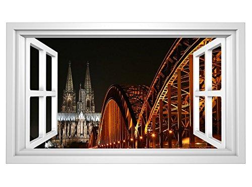3D Wandtattoo Skyline Köln Brücke Kölner Dom Stadt selbstklebend Wandbild Wandsticker Wohnzimmer Wand Aufkleber 11G114