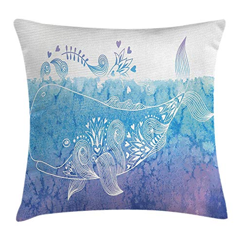 ushion Cover, Floral Designed Happy Big Fish Icon in Waves with Petal Bouquet Blooms Artwork, Decorative Square Accent Pillow Case, 18 X 18 Inches, Sky Blue Lavender ()