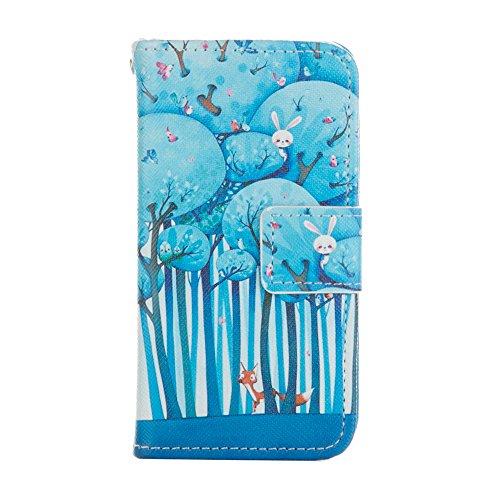 """EUDTH iPhone 6S Coque Peinture Style Housse Flip Magn¨¦tique Portefeuille Etui en Cuir de Protection Case Cover vec B¨¦quille pour Apple iPhone 6 / 6S 4.7"""" -Campanula Dreamcatcher Foxe & Rabbit"""