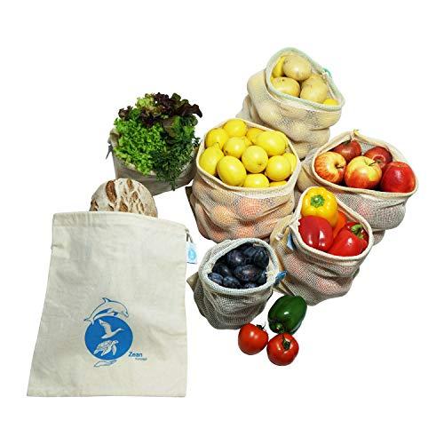 OzeanKonzept Obst- und Gemüsebeutel aus 100% Baumwolle mit Gewichtsangabe Wiederverwendbare Gemüsenetze mit Brotbeutel für den plastikfreien Einkauf– 7er Set 1S, 2M, 2L,1XL, Inkl. Stoffbeutel