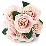 Silk Rose Pink 10 Heads SOLEDI Artificial Flower French Rose Fake for Bridal Bouquet Wedding Living Room Table Home Garden Decoration
