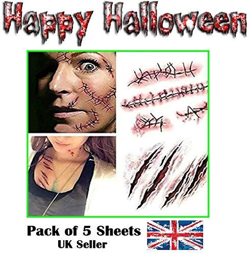 RMCtrends? reg; - Pack de 5 láminas - Tatuajes temporales con motivos de Halloween - Heridas de Zombie, cicatrices y puntos de sutura