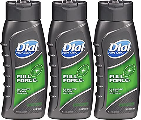 Dial for Men Ultimate Clean Body Wash, Full Force, 16 Oz (Pack of 3) by Dial