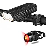 Hicool Lampe Vélo Éclairage avant Phare LED Lumière VTT Rechargeable IP65 2000 Lumens avec Lampe Arrière et 2 Supports Différents 4 Modes d'Éclairage