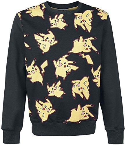 Pokemon Herren Sweatshirt Pikachu All Over Sweater Schwarz
