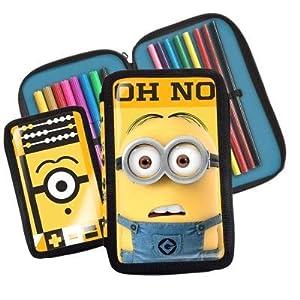 Minions – Estuche de dos partes con material escolar, diseño de Minion con texto en inglés «Oh no»