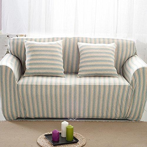 HYSENM 1/2/3/4 Sitzer Sofabezug Sesselbezug Bambus-Baumwolle unempfindlich Rutschfest Anti-Pilling, Grün+Beige 4 Sitzer 235-300cm