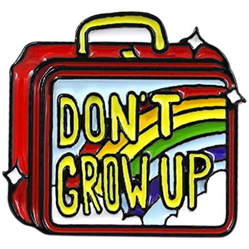 TOOGOO Don't Grow Up Emaille Brosche Hand Gep?ck Regenbogen Lunch Box Brosche Pullover Denim Rucksack Abzeichen Wei? Halsband Brauch Schmuck