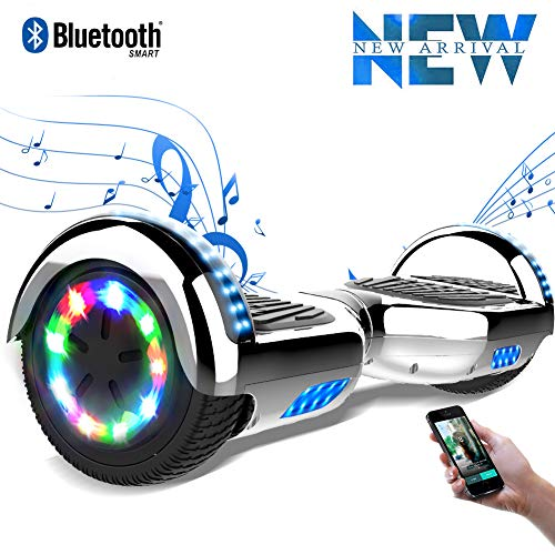 """Cool&Fun 6.5"""" Balance Board -Patinete Eléctrico Scooter Monopatín Eléctrico-con LED,Bluetooth y Motor Brillante (Cromo Gris)"""