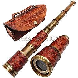 royaal collection Laiton Antique Nautique Pirate Handheld Télescope 45,7 cm Maritime Marin Cuir Craved Poignée Cuir Housse de Transport Longue-Vue