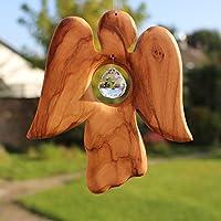 Fensterdeko | Engel aus Holz | Fenster Deko zum Aufhängen | Holzengel | Regenbogenkristall | Sonnenfänger | Engel Deko Weihnachten | Deko Engel
