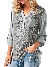 Covermason Mujer Ropa Blusa de Mujer Sexy Mujer, Camiseta de Mujer con Botones de Encaje