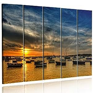 Feeby Frames, HDR - Grande Formato Quadro multipannello di 5 pannelli, Quadro su tela, Stampa artistica, Canvas XXL, 120x250 cm, Tipo C, MARE, BARCHE, BLU, ARANCIONE, GRIGIO