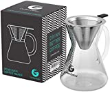 Pour Over Coffee Maker Set of Perfect Hand Drip Coffee 3Cups Carafe with Reusable Paperless Stainless Steel Mesh Filter (15oz/400ml)