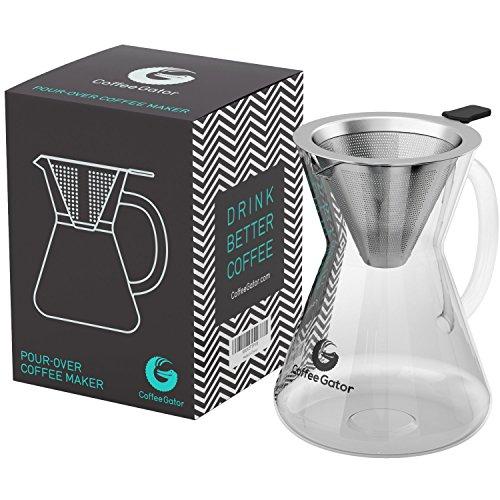 """Kaffeezubereiter """"Pour Over"""" (Medium, Standard) mit Dauerfilter aus Edelstahl und Karaffe. Dripper zum Aufbrühen des Kaffees."""
