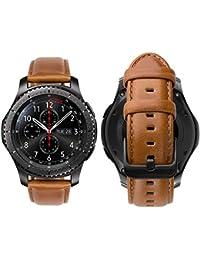 iBazal 22mm Bracelet Cuir Dégagement Rapide pour Gear S3 Frontier/S3 Classic SM-R760,Galaxy Watch 46mm SM-R800,Huawei Watch GT,Huawei Watch 2 Classic,Moto 360 2nd Gen 46mm Montre - Marron élégant
