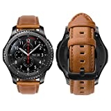 iBazal 22mm Cinturino Pelle Rilascio Rapido per Gear S3 Frontier/S3 Classic SM-R760, Galaxy Watch 46mm SM-R800, Huawei Watch GT, Huawei Watch 2 Classic, Moto 360 2nd Gen 46mm - Marrone alla Moda