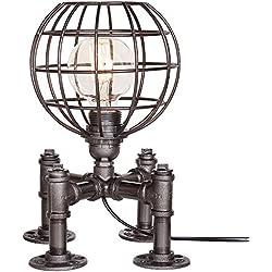 YU-K Iluminación Decorativa Creativa American Retro Globo Terráqueo Hueco De Sombra De Luz Lámpara De Mesa 23 * 23 * 30 Cm Plancha Fancy Interruptor De Ajuste De Sombra, Oro