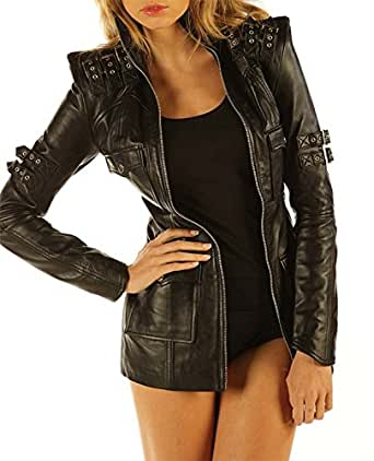 Black Leather Fetish Dress Top Jacket Sexy Skin Tight Dress MD11 (Large2)