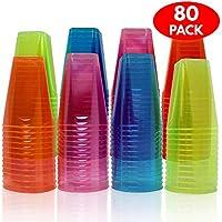 80 Vasos de Desechables, Plástico Duro - 7 oz (210 ml) - Cuatro Fluorescentes Neón Colores - para todas la fiestas, Navidad, Halloween y Pascua etc - Accesorio de Fiesta Desechable, Reutilizable, Reciclable