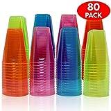MATANA 80 gobelets jetables en Plastique au néon carré de Couleurs variées - 7 onces - Parfait pour fêtes, soirées, Pique-niques, barbecues et Beaucoup Plus.
