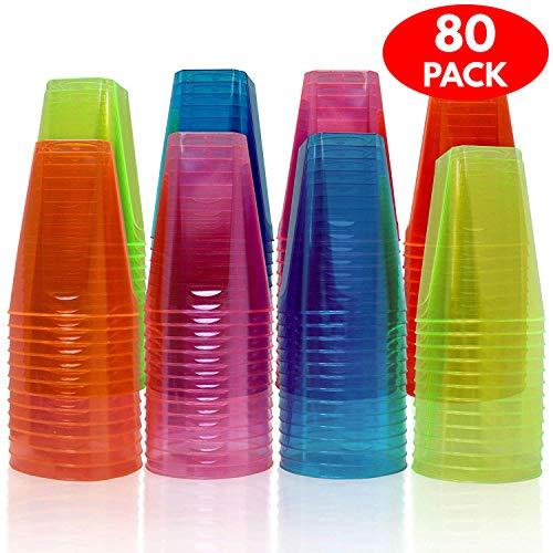 80 Neon Hart Einwegbecher aus Kunststoff - 210 ml - Starke und dauerhafte Partybecher, Schnaps gläser - Einweg und wiederverwendbar - Perfekt für alle Arten von Partys, Special Events & Feiern.