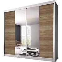 E-MEUBLES Armoire de Chambre avec 2 Portes coulissantes   Penderie (Tringle) avec étagères (LxHxP): 183x218x61 Ben 36…
