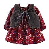 Elecenty Abitini per bambina Neonata Cartoon Warm Princess Dress + Panciotto Abiti Set di vestiti