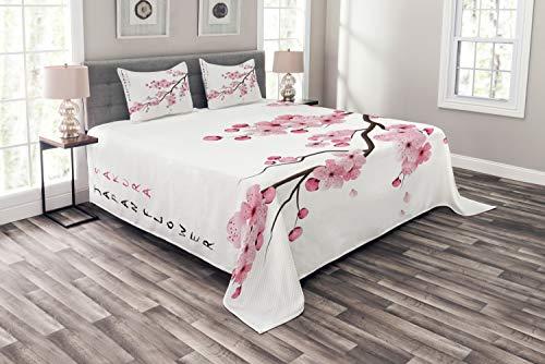 ABAKUHAUS asiatisch Tagesdecke Set, Japanischer Kirschzweig, Set mit Kissenbezügen Feste Farben, für Doppelbetten 264 x 220 cm, Weiß Rosa (Asiatische Bettdecken)