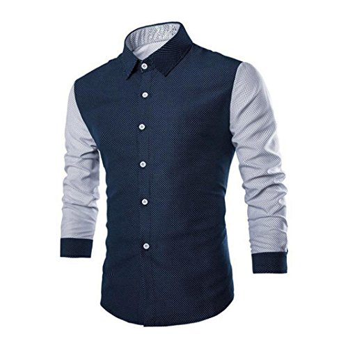 Hemden Herren Btruely Trachtenhemd T-Shirt Mode Langarmshirt Junge Business Hemden Slim Fit Freizeit Shirt Casual Shirt (M, Marine)
