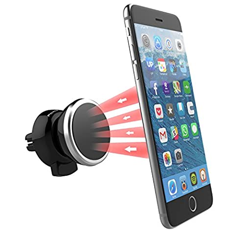 Air Vent Magnetic Car Phone Holder - Universal In-Car Cell Phone Mount Best for iPhone 7 6S 6 SE Plus Samsung Galaxy S5 S6 S7 Edge Nexus Huawei Android Smartphones or GPS - Power Theory