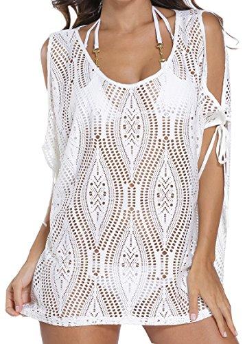 Angerella Frauen stilvolle Beachwear Badeanzug Sommer Häkeln Spitze Cover-Up (Pareo Weiß)