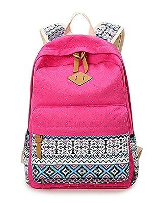 Leinwand Rucksack für Damen Mädchen Schultasche Lässig Tagesrucksack Satchel