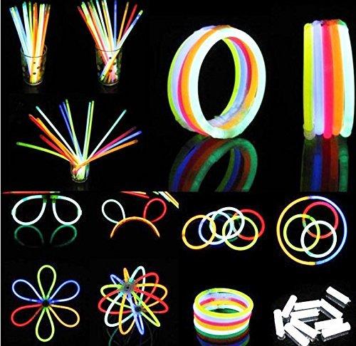 BBM 100 Knicklichter Glow Sticks Set für Brillen, Dreifach Armbänder, ein Stirnband, Ohrringe, Blumen