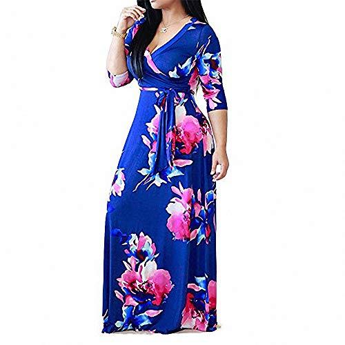 FeiXing158 Bedrucktes Kleid Langärmliges Kleid mit V-Ausschnitt und Taille