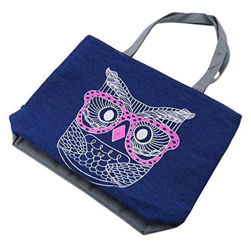 kemai Tragetasche/Handtasche mit Eulenmotiv, Segeltuch, Canvas, Eule Blau, Siehe Produktbeschreibung