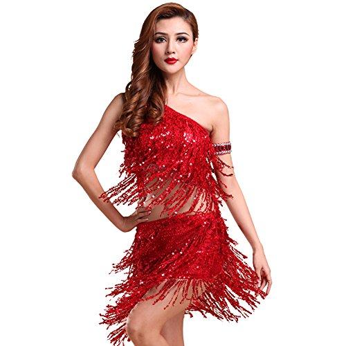 Damen Latein Tanz Sequin Oberseiten + Quasten Pailletten Rock Kleider Sätze