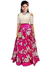 d1bc967a2a E Ethnic Store Girl's Banglory Silk Semi-Stitched Party Wear Lehenga Choli ( Pink,
