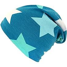 WOLLHUHN ÖKO Long-Beanie, Wende-Mütze, ganzjährig, Big Stars petrol-hellblau-mint, Innenseite uni grau, Jungen u. Mädchen, 20151102