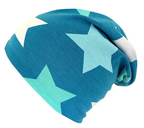 Hut, Mütze, Mint (WOLLHUHN ÖKO Long-Beanie, Wende-Mütze, ganzjährig, Big Stars petrol-hellblau-mint, Innenseite uni grau, Jungen u. Mädchen, 20151102, Größe M: KU 52/54 (ca 3-7 Jahre))