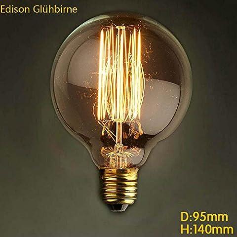 Edison Glühbirne Glühlampe Dimmbar E27 300lm 2700K G95 Gerader Draht Ball Retro Stil Globe Lampe [Energieklasse A++]