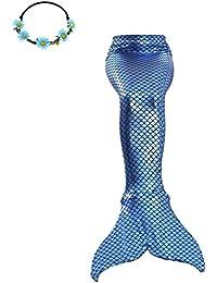 2XDEALS Disfraz De Sirena para Niña y Mujer Traje De Sirena Niña Cola De Sirena para Nadar Mujer Adulta, 7-8 años, Tinta Azul
