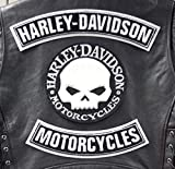 Generico Set 3 Toppe Patch Grandi Arco Harley Davidson - Motorcycles + Skull Argento