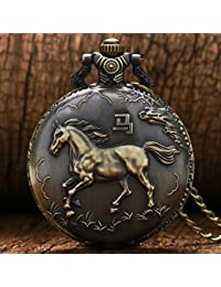 Vantique Bonze 3D Horse Quartz Pocket Watch With Necklace Chain