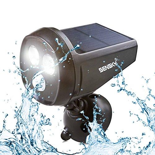 Solar Bewegungsmelder Licht, Sensky BS133 Wasserdicht LED Drahtlose Solar Wandleuchte mit Bewegungsmelder Außen Für Patio/ Terrasse/ Hof/ Garten Außenwand mit 2 LED, Schwarz