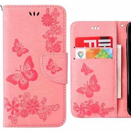 Ougger Hülle für Huawei P20 Lite Handyhüllen, Tasche Leder Schutzhülle Schale Weich TPU Silikon Magnetisch-Stehen Flip Cover Tasche P20 Lite mit Kartensteckplätzen, Schmetterling Streifen (Rose)