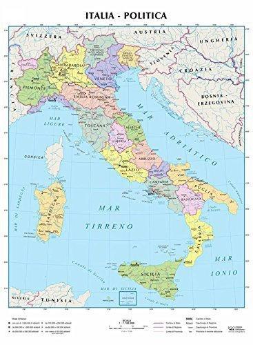 ITALIA CARTA MURALE 90X138 FISICA E POLITICA SU DUE LATI CON ASTE METALLO
