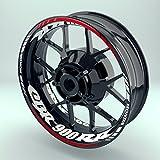 Felgenaufkleber Set Honda CBR900RR für Motorrad   17 Zoll   Felgenrandaufkleber & Felgenbettaufkleber   Vorder- & Hinterreifen Komplett-Set (Doppelt - glänzend)