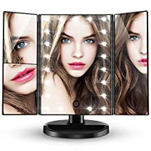 CocoBear Makeup Vanity Mirror with 3x/2x Magnification,Trifold Mirror with 21 Led Lights,Touch Screen, 180 degree Adjustable Rotation,Dual Power Supply, Countertop Cosmetic Mirror